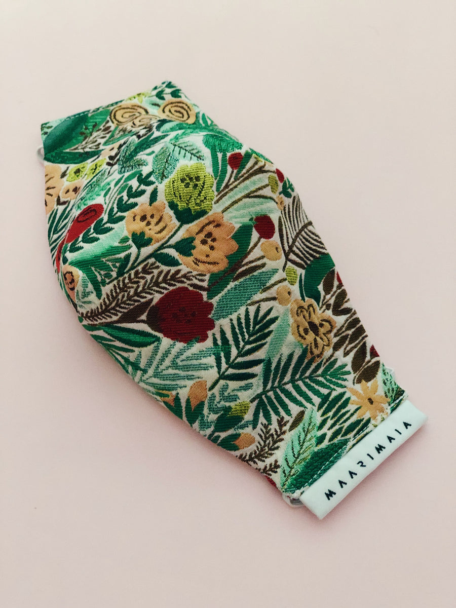 Brocade Face Mask | Green Red Floral