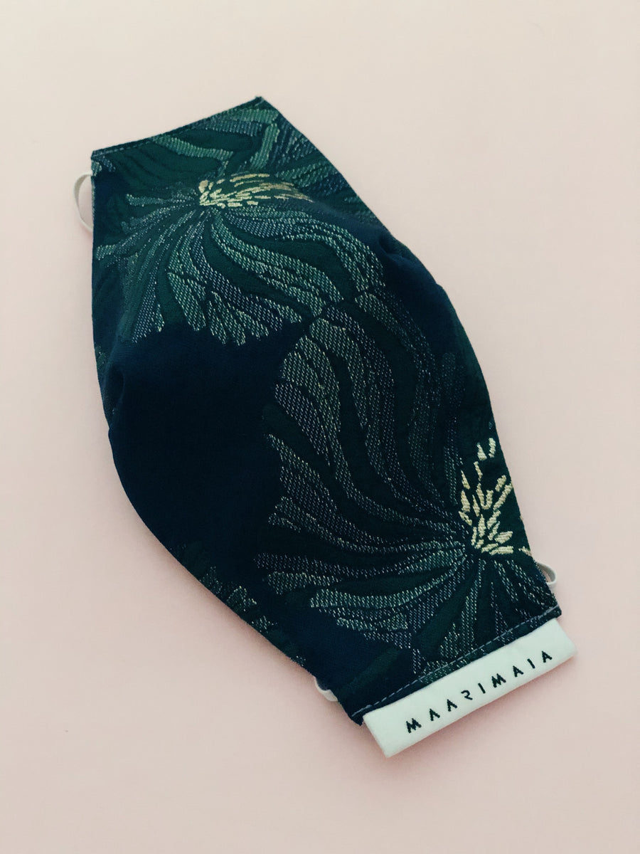 Brocade Face Mask | Navy Green Floral