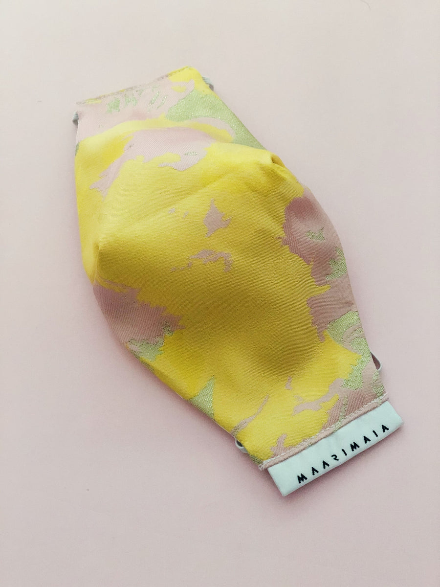 Brocade Face Mask | Pink Yellow Abstract