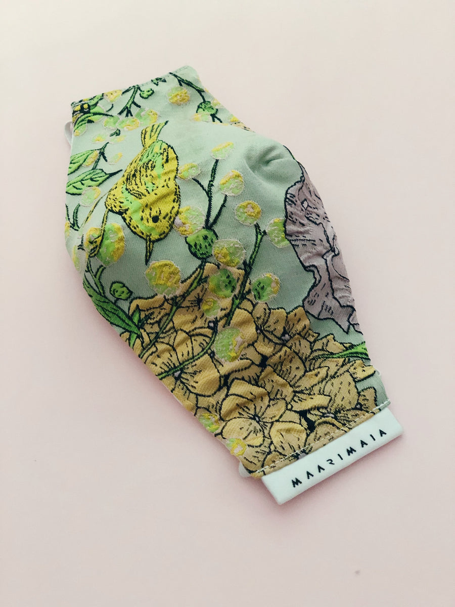 Brocade Face Mask | Mint Chinoiserie
