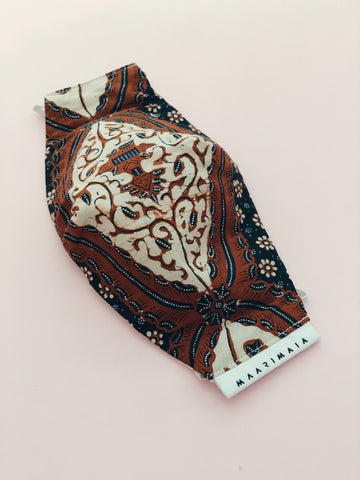 Hand Drawn Batik Face Mask | Brown/White