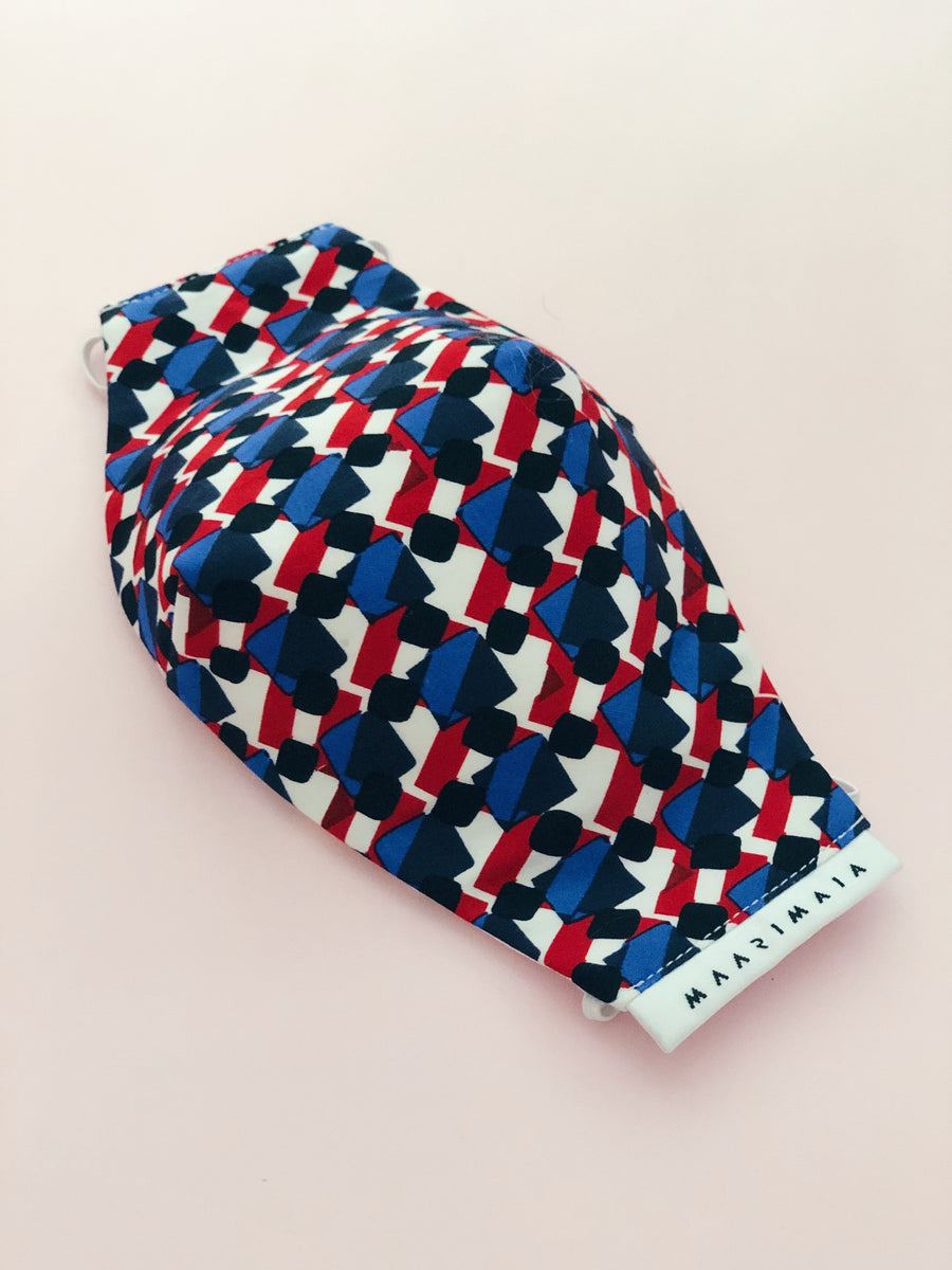 Cotton Face Mask | Red Blue Geometric