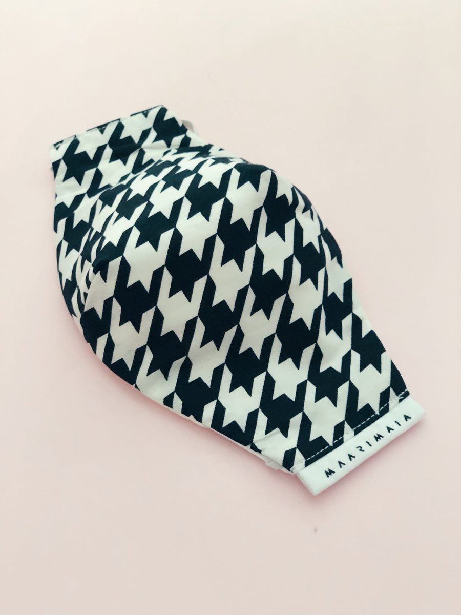 Cotton Face Mask | Black White Houndstooth