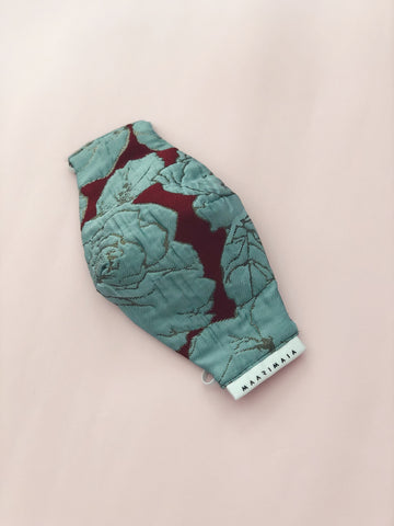 Brocade Face Mask | Maroon Blue Floral