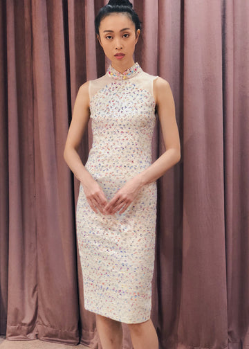 Maarimaia Privé  Brocade Qipao | White Tweed
