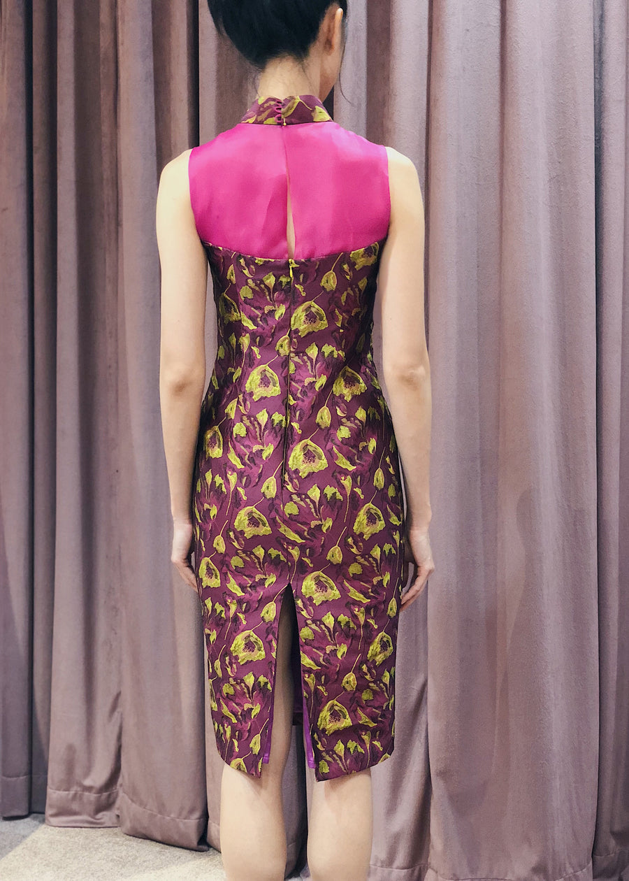 Maarimaia Privé  Brocade Qipao | Fuschia Yellow