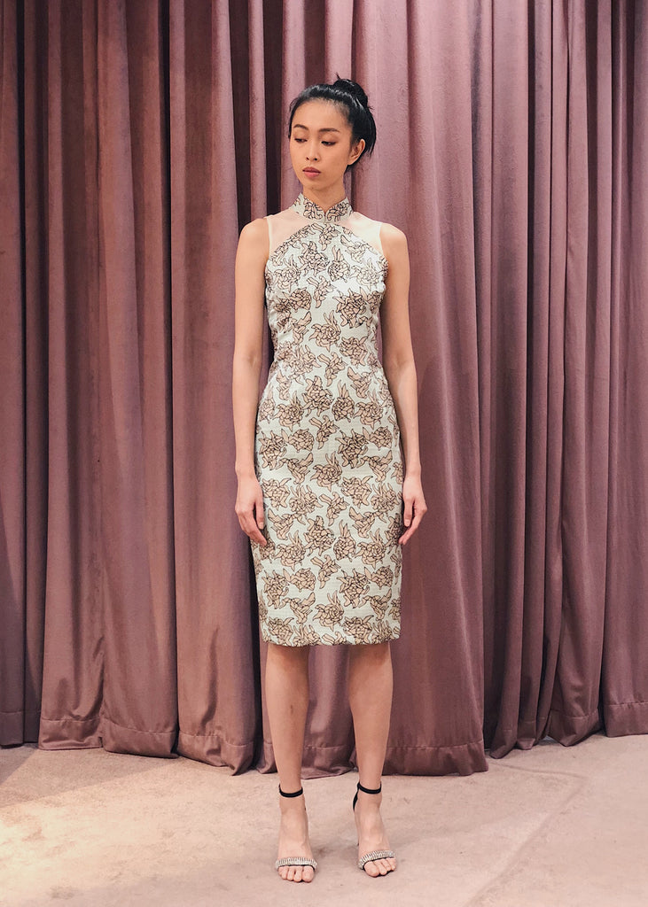 Maarimaia Privé  Brocade Qipao | Mint Green Beige