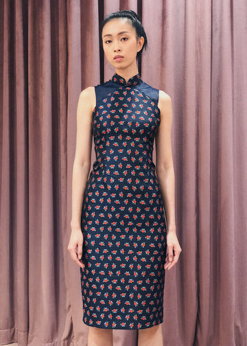 Maarimaia Privé  Brocade Qipao | Navy Red