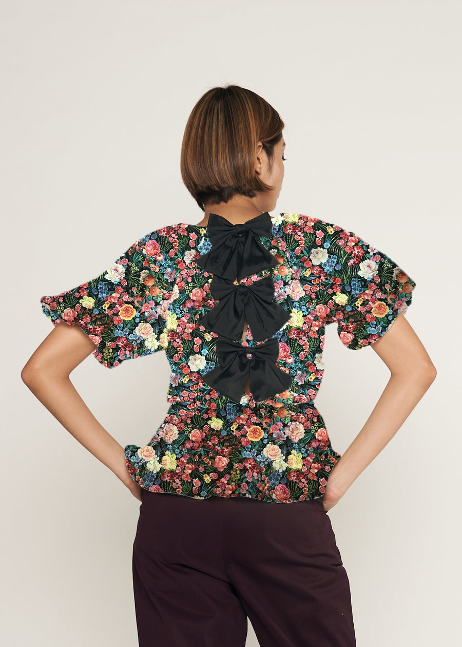 PRE ORDER CLOSED | Custom Triple Bow Back Elasticated Peplum Detail Puff Sleeve Top