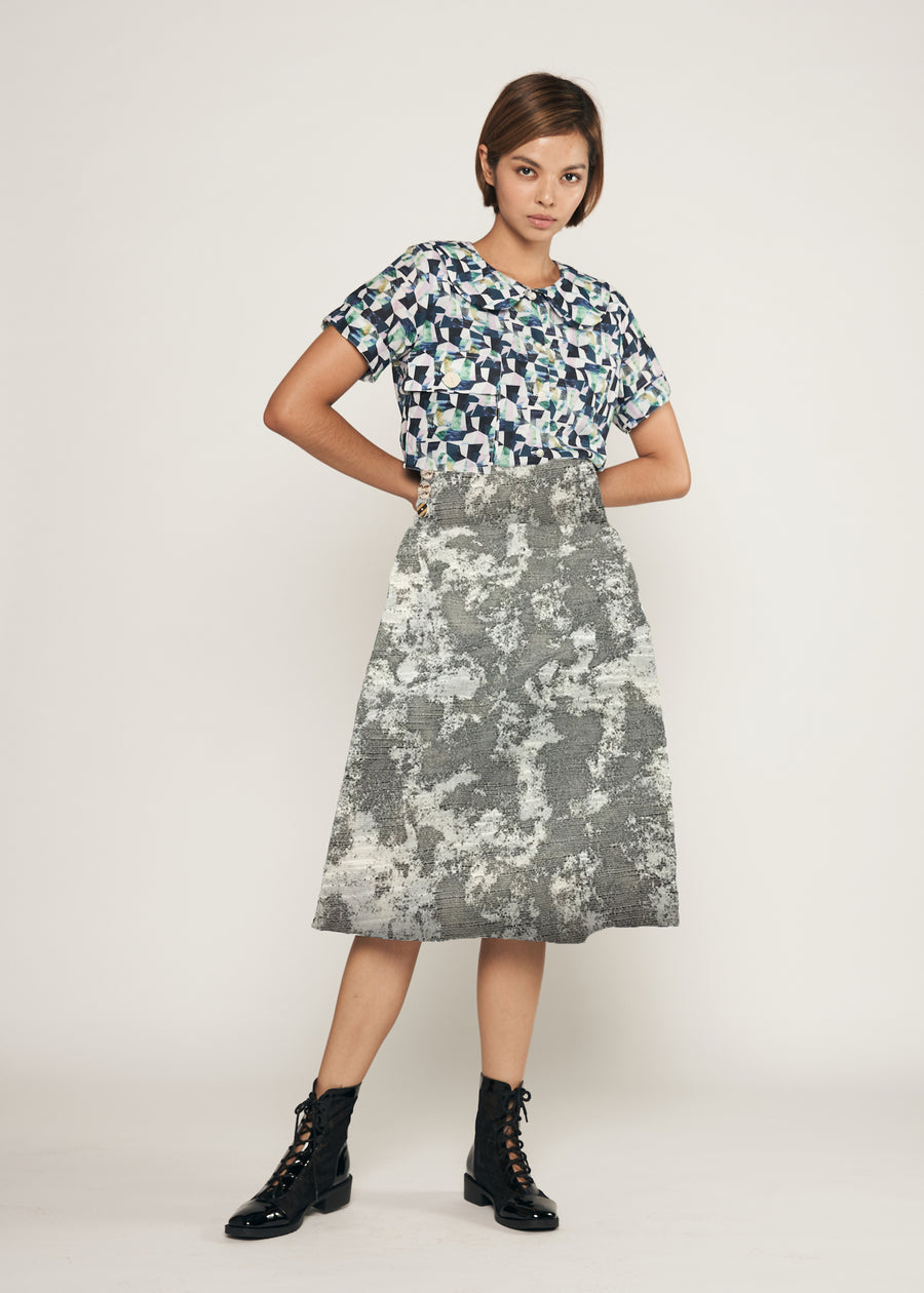 PRE ORDER CLOSED | Custom Triple Button Gathered Flared Midi Skirt