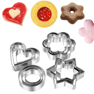 Baking Moulds Stainless Steel Cookie Cutters (Set of 12)