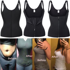 Adjustable Shoulder Strap Waist Trainer Vest Corset Zipper Hook