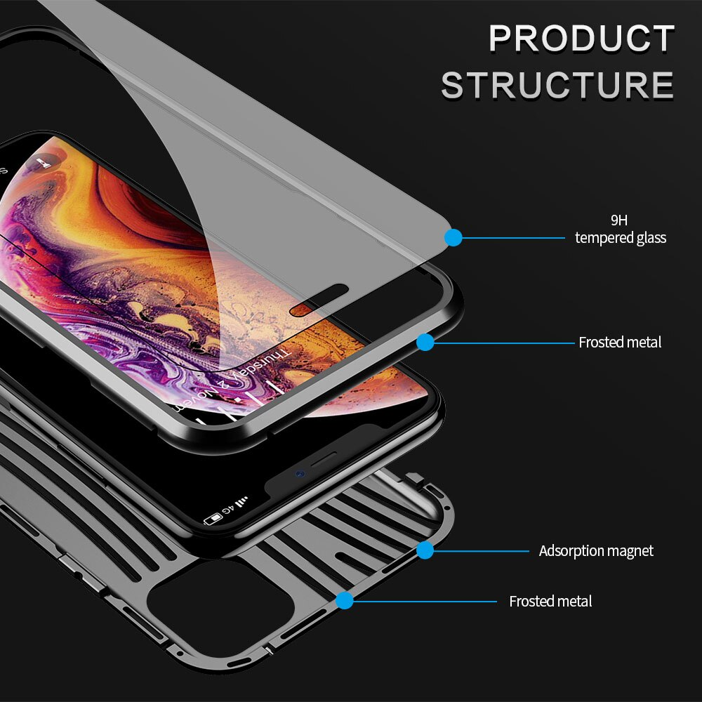 Magnetic Tempered Glass Case For iPhone 11 Pro Max