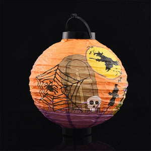 Halloween Decoration LED Paper Pumpkin Light Hanging Lantern Spider Ghost Lamp