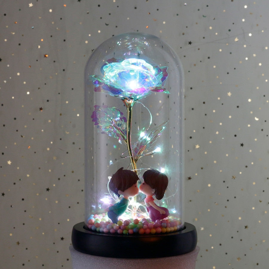 Galaxy Enchanted Rose LED Glass