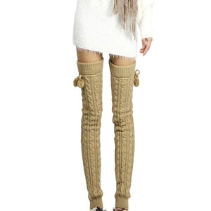 Knitted Women Winter Leg Warmers Knee Long Boot Socks