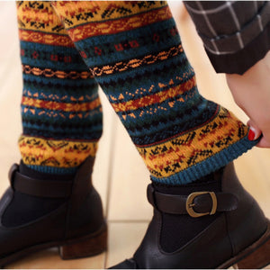Patchwork Colorful Ladies Crochet Vintage Leg Warmers Legging
