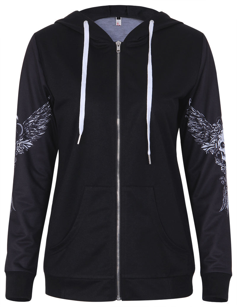 Angel Wing Skull Print Zip Up Hoodie