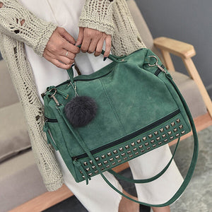 Vintage PU Leather Ladies Handbags Rivet Larger