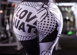 I Love Squats Pants 3D Printing Elastic High Waist Leggings