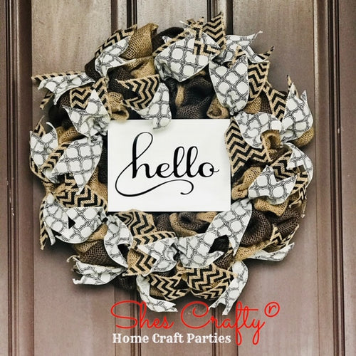 Hello Burlap Sign & Wreath Kit