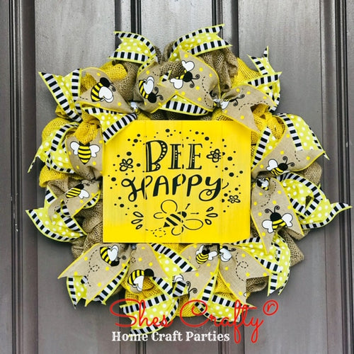 Bee Burlap Wreath & Sign Kit