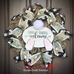 Bunny Butt Burlap Wreath & Sign Kit