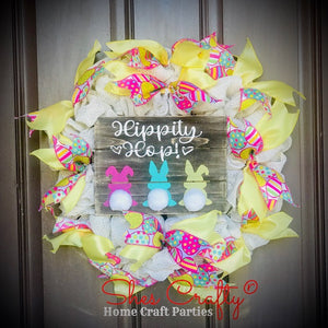 Hippity Hop Burlap Sign & Wreath Kit