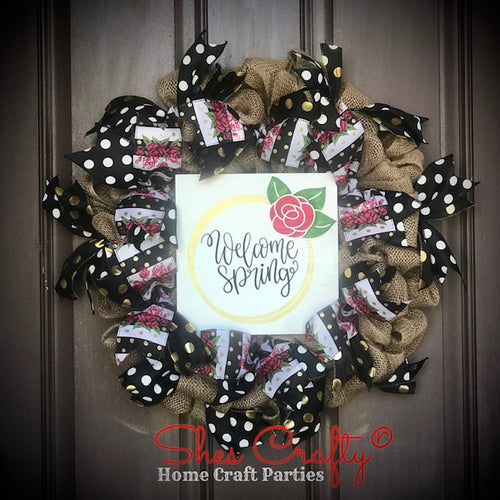 Spring Burlap Wreath & Sign Kit