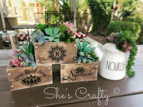 Planter Box Table Top Trio Kit w/ Faux Succulent Picks