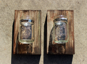 Mason Jar with Metal Bracket Attachment