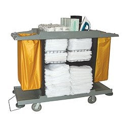 Housekeeping Maid Cart Both Side Vinyl Bag with Vacuum Stand