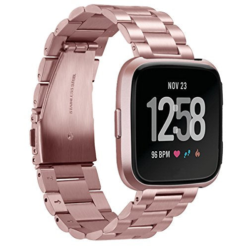Fitbit Versa rose gold link stainless steel strap