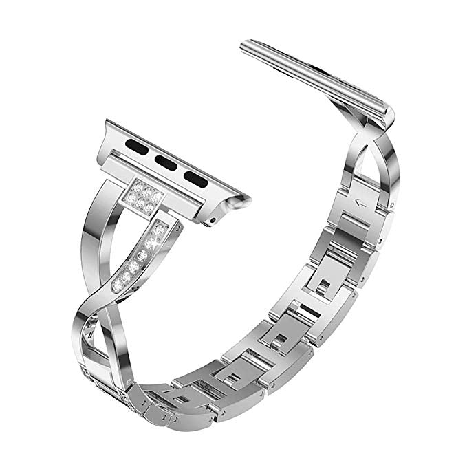Apple watch series 4 silver diamanté linked strap