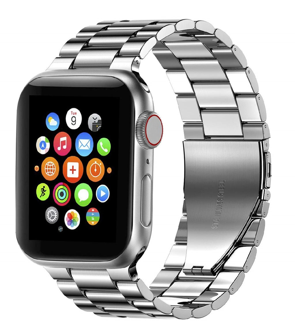 Apple watch silver stainless steel link strap