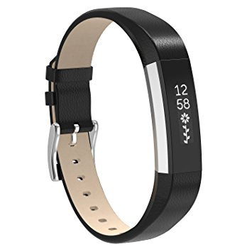 Fitbit Alta Hr Black Genuine Leather Replacement Strap