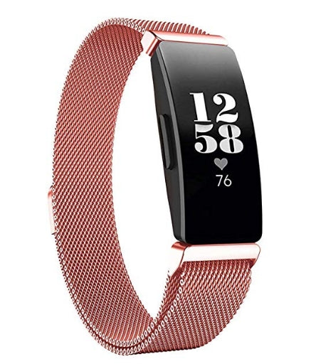 Fitbit Inspire HR pink rose gold metallic strap