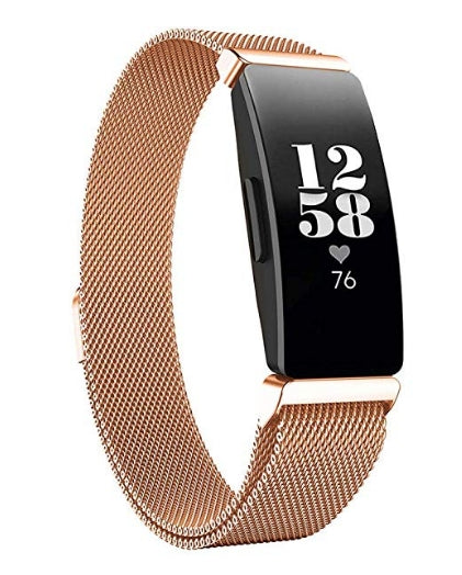 Fitbit Inspire HR rose gold metallic strap