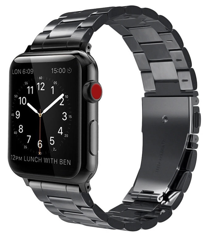 Apple watch black stainless steel link strap