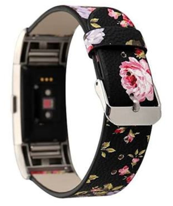 Fitbit charge 2 black floral strap