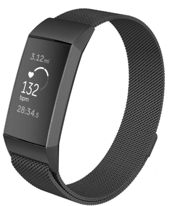 Fitbit charge 3 black metallic strap
