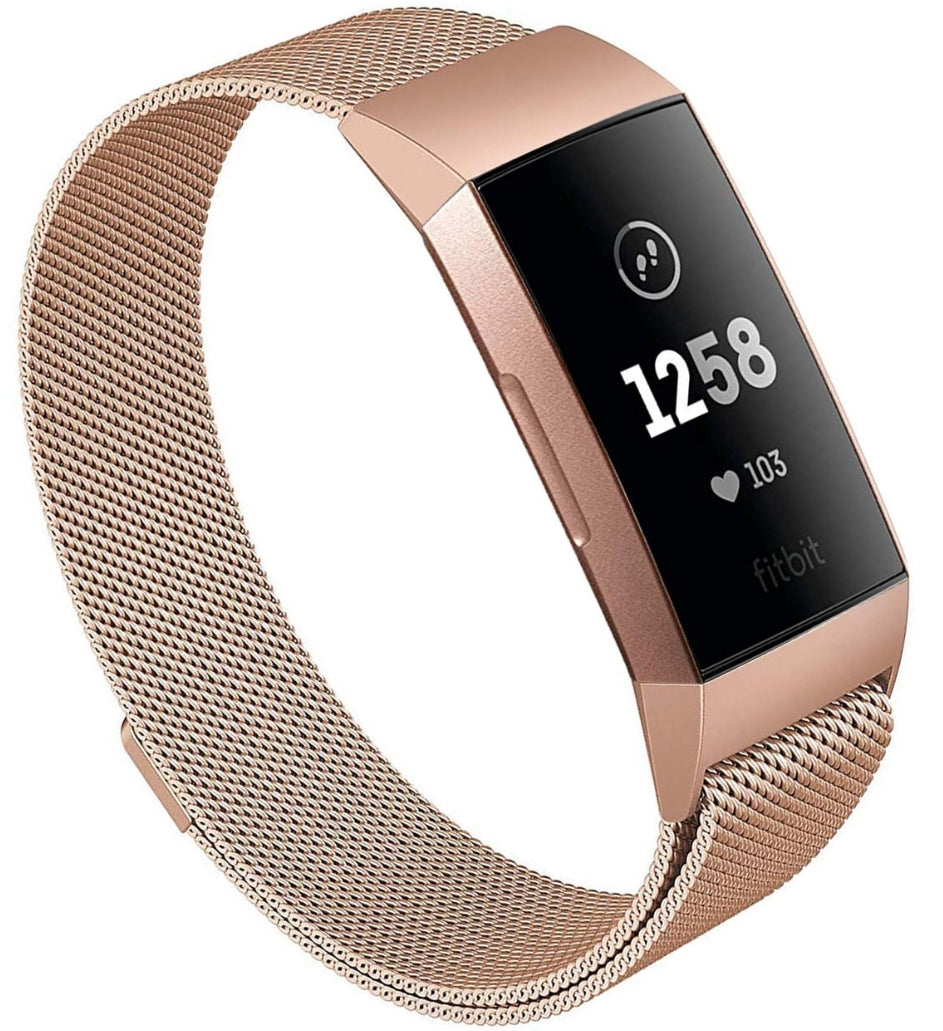 Fitbit charge 3 rose gold metallic strap