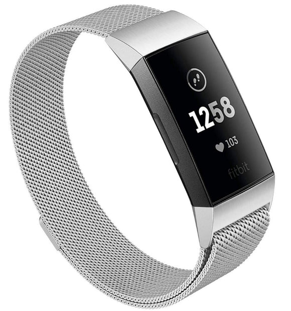 Fitbit charge 3 silver metallic strap