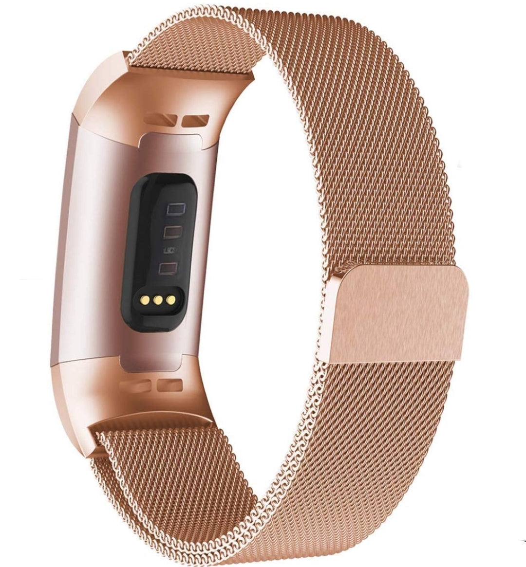 Fitbit charge 3/4 rose gold metallic strap