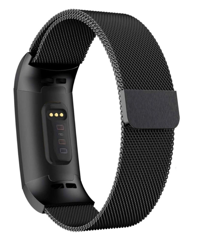 Fitbit charge 3/4 black metallic strap