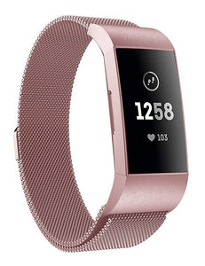 Fitbit charge 3 blush rose gold metallic strap