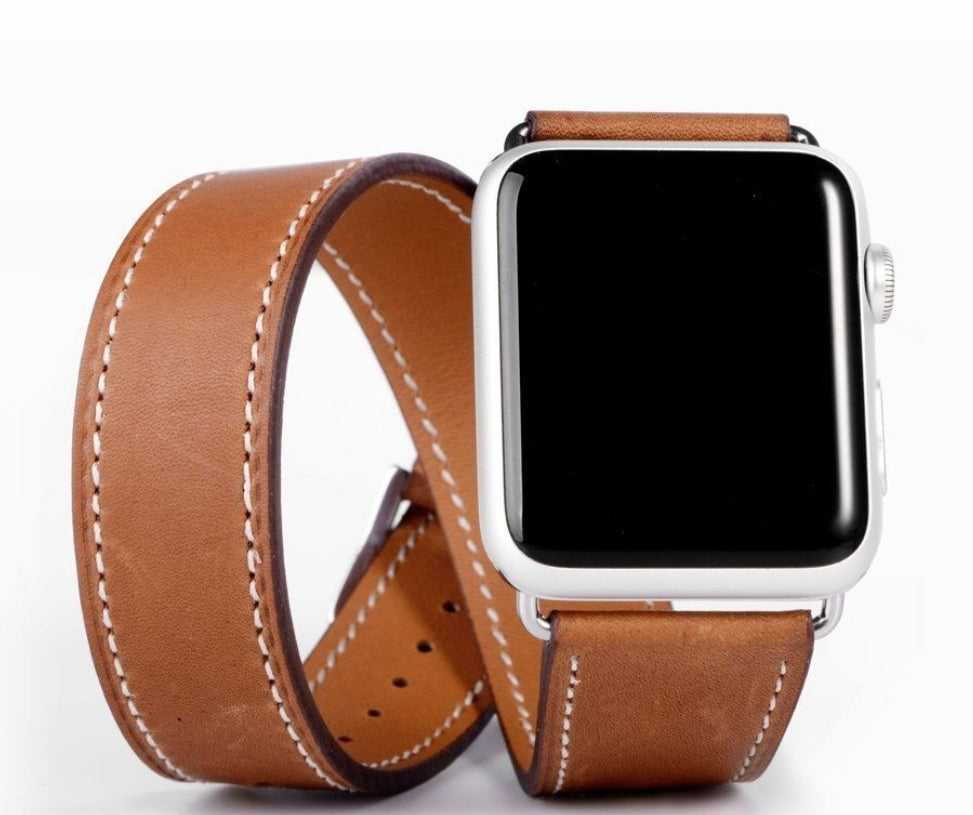 Apple watch twisted tan genuine leather strap