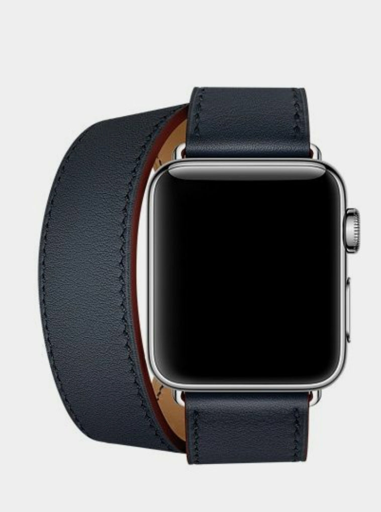 Apple watch twisted navy genuine leather strap
