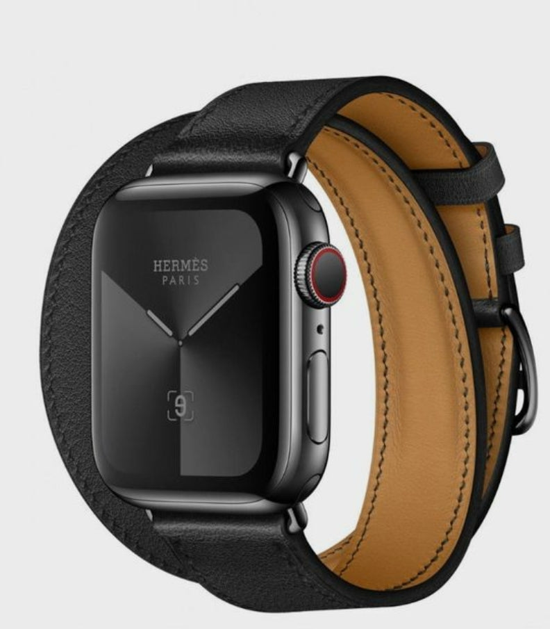Apple watch twisted black genuine leather strap