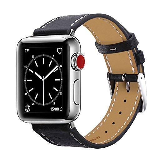 Apple watch black genuine leather strap
